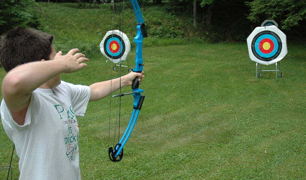 Shoot a bow and arrow