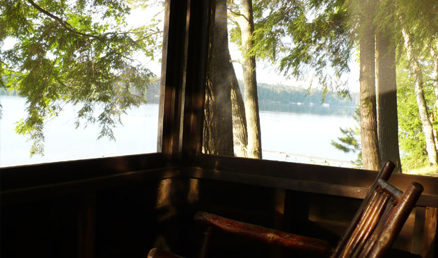 Some of our cabins have porches that overlook the lake